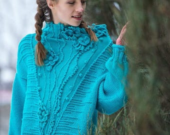 Cable knit sweater oversize blue chunky bohemian wool sweater women sweater flower sweater boho sweater wool lace sweater bright sweater