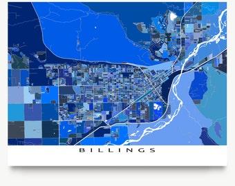Billings Map Print, Billings Montana, USA City Art Maps