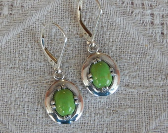 Gaspite Earrings, Gaspite & Sterling Silver Earrings, Gaspeite Silver Shield Earrings, Green Silver Earrings, Gaspeite, Lab Created Gaspite