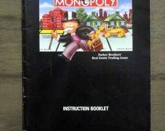 Super NES Nintendo Monopoly Instruction Booklet Only