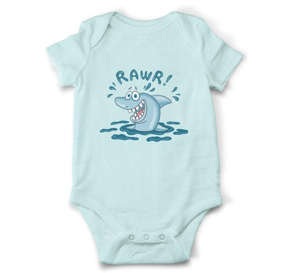 RAWR Shark bodysuit Nautical baby clothes Unique baby