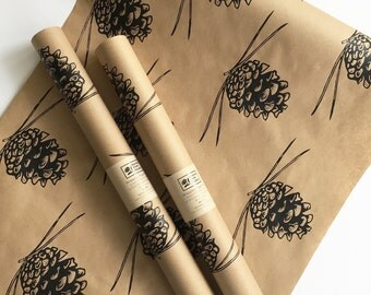 Wrapping Paper - Pine Cone Gift Wrap as seen in Country Living Magazine, Black Wrapping Paper, 9 ft, Paper Table Runner, Kraft Paper