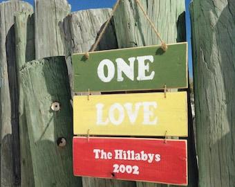 One Love Rasta Sign, Rastafari Style, Personalized Love Sign, Hippie Decor, Bohemian Decor, Boho Beach, Wooden Beach Sign, Rastafarian Style