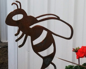 Metal Buzzing Bee Garden Stake, bee yard stake, metal curly garden stake, flying bee yard decor, be you, be love, be still, bee stake, bees