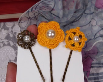3 yellow crochet hair pins, hair accessories, yellow bobby pins, crochet flower pins, hair pins for wedding, yellow lace accessories