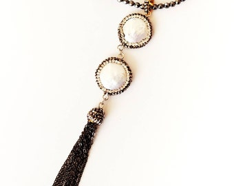 Long Coin Pearl and Crystal Fringe Necklace
