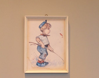 Vintage Print of Young Boy, 1960's