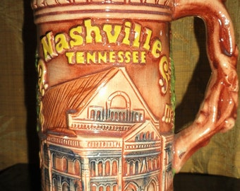 Vintage Japan Nashville Tennessee Ryman Old Opry House, Country Music Hall Of fame, The Hermitage, Souvenir Mug