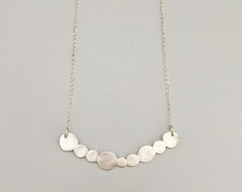 Scalloped bar, circles, necklace, fine silver with sterling silver chain