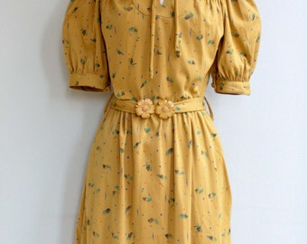 Mustard short sleeve dress Peter Pan collar