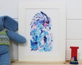 Watercolour Owl Fine Art PRINT