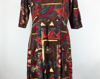 Vintage Dress Orange Dress Orange Brown Dress 1950s Dress Mod Dress Abstract Mid Century Day Dress House Dress Rockabilly Swing
