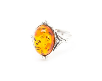 Boho Amber Ring | Adjustable Amber Ring | Baltic Amber Ring | Sterling Silver & Amber Ring | Amber Jewelry | Amber Jewellery | Amber