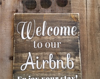 Airbnb Sign.  Welcome sign, vacation home signs, home signs, airbnb, airbnb decor, airbnb wood sign, airbnb welcome sign, rustic airbnb sign