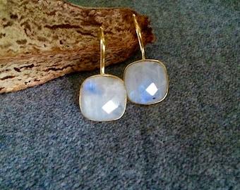 Rainbow Moonstone Earrings, Moonstone Earrings, Faceted Moonstone Earrings, Moonstone Dangle Earrings, Chakra Earrings