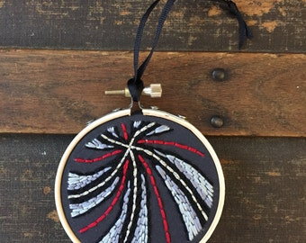 Hand Embroidered Christmas Ornament, Gothic Ornament, Holiday Ornament, Red Black and Grey Ornament, Hoop Art Ornament