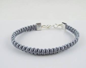 Liadain (Silver Satin Cord Macrame Bracelet)