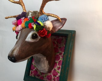 Stag with gold antlers faux taxidermy