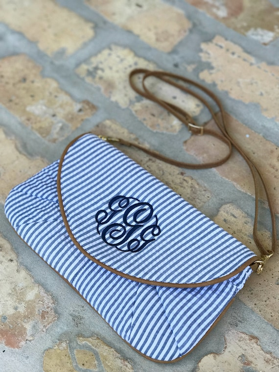 SALE - Monogrammed Seersucker Clutch/Wristlet/Crossbody