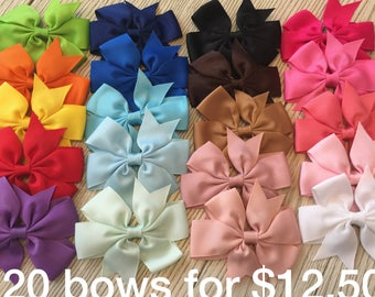"""Hair bows for babies-3""""inch hairbows with alligator clip-baby hair bows-20 bow bundle"""