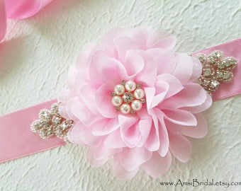 PINK Wedding Sash, Pink Bridesmaids Sash, Pink Flower Girl Bridal Sash, Pink Wedding Belt, Pink Maternity Sash, Pink Bridesmaids Belts, Pink