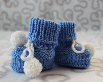 Baby bootees, knitted baby booties,  blue baby bootees, knitted baby shoes