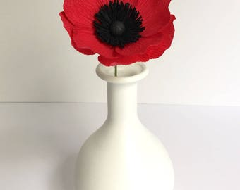Crepe Paper Red Anemone, Single Stem, Paper Flowers, Wedding, Events, Home Decor, Gifts