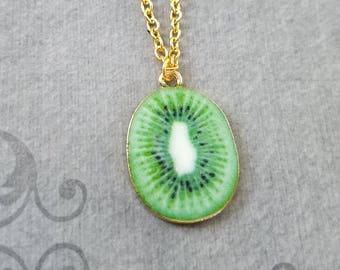 Kiwi Necklace Kiwi Jewelry Kiwi Slice Charm Necklace Kiwi Pendant Necklace Kiwi Fruit Necklace Food Jewelry Fruit Jewelry Vegetarian Gift