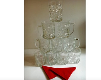 Vintage Punch, Coffee, Tea Cups, Anchor Hocking Mugs, Wexford Pressed Barware Glassware with handles, Set of 10 tall Holiday , Bridal Party