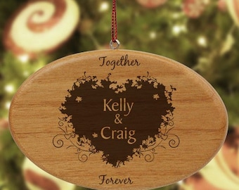 Couple's Engraved Ornament, Personalized Ornament, Personalized Couple Ornament