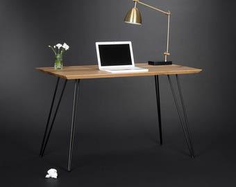 Desk, office desk, computer desk, modern desk, industrial desk, mid century modern, midcentury, solid oak, bureau, metal legs, hairpin legs