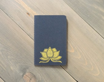 Moleskine Cahier notebook, Pocket journal, Small yoga journal, Dream journal, Gold lotus journal, Yoga gift, Coworker gift