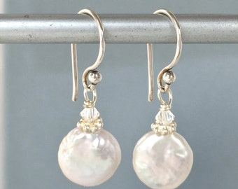 Coin Pearl Earrings - Small Coin Pearls - White Coin Pearls - Coin Pearl Jewelry - Baroque Pearls - Freshwater Pearls - Small Pearl Earrings
