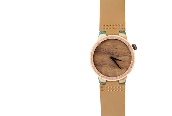 7PLIS watch #48 Recycled SKATEBOARD #madeinfrance yellow brown green wood