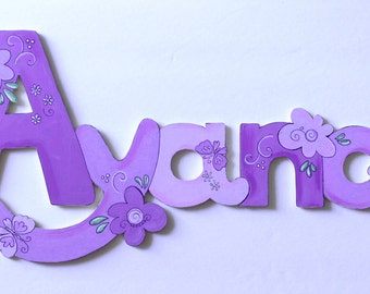 Flowers/Butterflies/Hearts theme CONNECTED Wooden letters