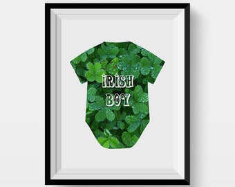 Irish boy art print Newborn poster Baby boy digital art Green nursery decor Kids print Digital download Clover Baby romper print Digital art
