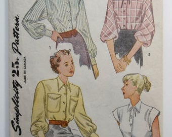 Vintage Size 16 SIMPLICITY 1728 Blouse Sewing Pattern, Bust 34, 1940's Blouse Pattern, 1940's Shirt Sewing Pattern