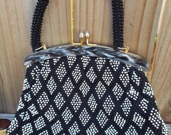 1960's Geometric Beaded Lucite Purse/Handbag
