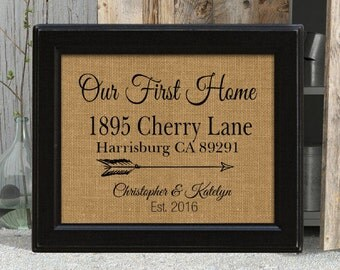 Our New Home, New Home Gift, Realtor Closing Gift, Housewarming Gift, Gift for New Home, Visiting New Home, Framed Burlap Print,
