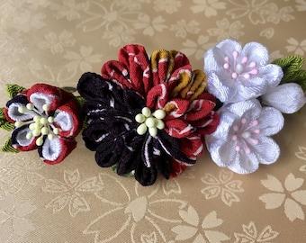 Japanese Tsumami Flower - Barrette - Orange & Purple