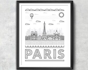 PARIS FRANCE SKYLINE, Paris Wall Art, Paris Typography, Skyline Art, Typography Print, Paris Print, Paris Art, Wall Art, Paris Print, Art