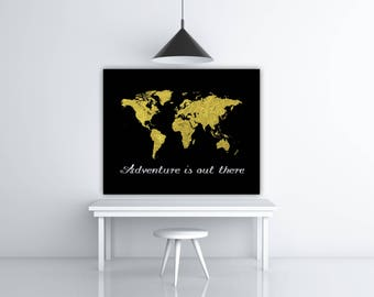 Adventure Is Out There Gold Foil Map Gift Ideas, Gold Print, World Poster Graphic Wall Art, Adventure Art, Printable World Map Poster