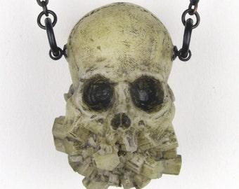Exploded jaw pendant - natural bone finish