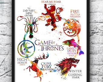 Game of Thrones Watercolor Print, Game of Thrones Art, Movie Poster,House Targaryen Stark Lannister, Wall Art, Home Decor, Kids Room - 496