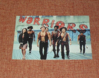 vintage vagabond postcard presenting the warriors gang as it was in the homonymous film, movie postcard, The warriors, vintage postcard