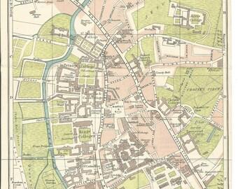 1917 map of cambridge england antique map  vintage wall decor.