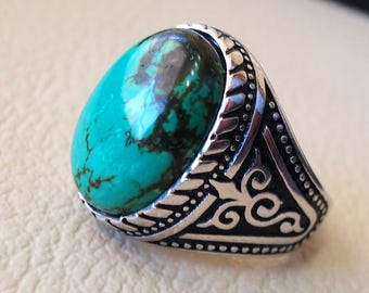man ring nishapur tibet turquoise blue natural high quality stone  sterling silver 925  all  semi precious gem middle eastern style