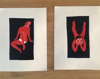 Park - Linocut print limited edition