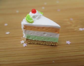 Tropical Mousse Cake Magnet, Handmade Polymer Clay Kawaii