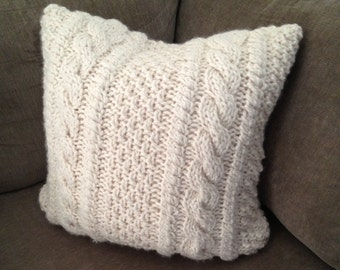 Chunky Cable Knit Pillow Cover